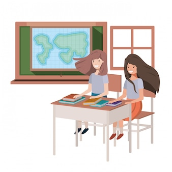 Young student girls in geography classroom