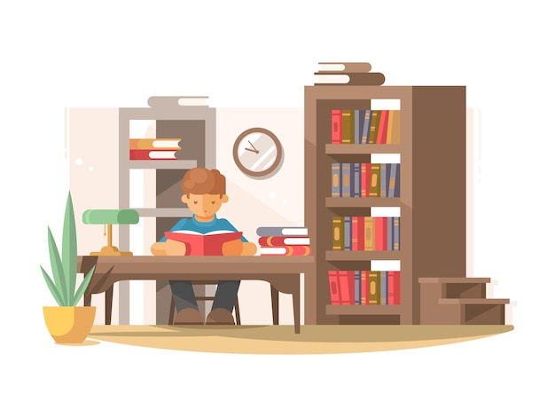 Молодой студент читает книгу за столом в библиотеке. иллюстрация