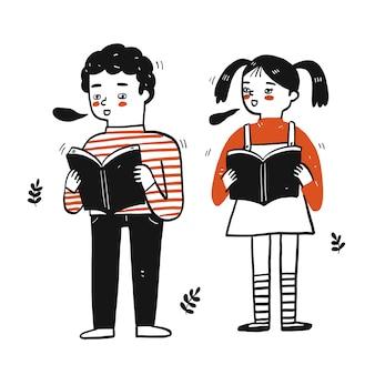 若い学生の男の子と女の子の本を保持