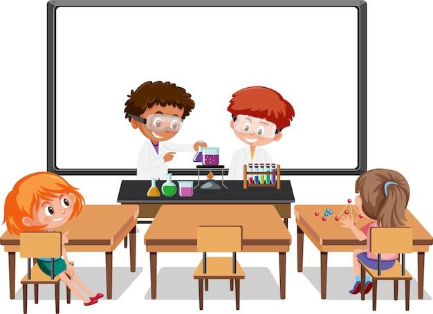 교실 장면에서 과학 실험을하는 어린 학생들
