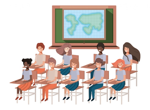 Young students in geography classroom