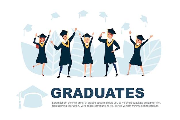 젊은 학생 졸업 문자 만화 디자인 평면 벡터 일러스트 광고 배너