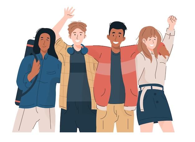 Молодые студенты в повседневной одежде, обнимая друг друга