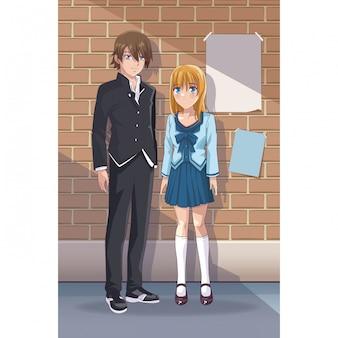 Young students manga cartoon