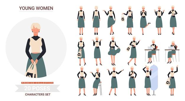 Young stylish girl poses  illustration set.