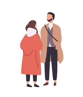 세련 된 젊은 남자와 여 자가 서서 서로 이야기. 트렌디한 옷을 입은 재미있는 소년과 소녀. 세련된 사람들이나 고객이 줄을 서서 기다리고 있습니다. 플랫 만화 다채로운 벡터 일러스트 레이 션.