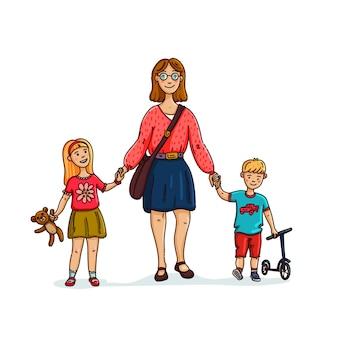2人の子供と一緒に歩く若いスタイリッシュな母親または乳母のベビーシッター
