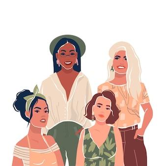 Молодые стильно одетые женщины или девушки-подруги плоские персонажи изолировали векторную иллюстрацию