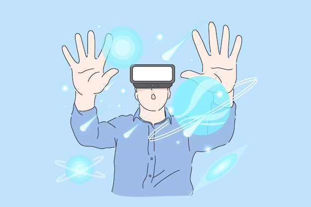 Молодой успешный проект человека в виртуальной реальности в офисе.