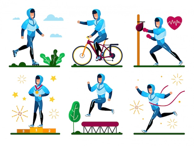 Young successful sportsman vector characters set