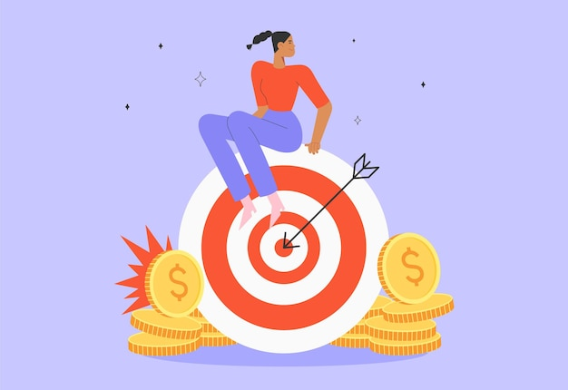 Young successful woman sitting on a big target with arrow