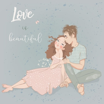 Young summer couple in love vector illustration