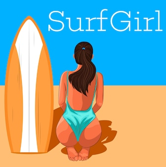 Young surfer girl in swimsuit with surfboard.