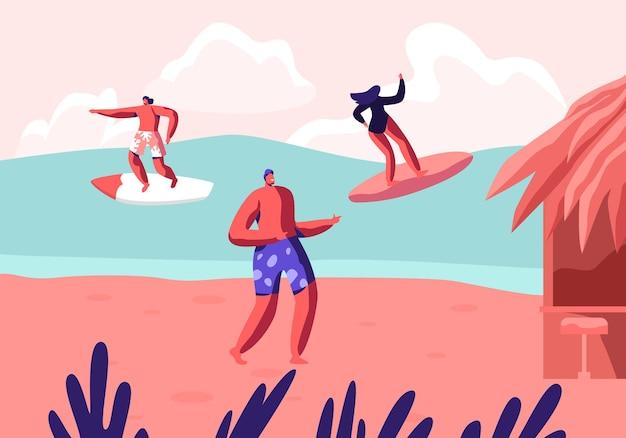 Молодые серферы катаются на морской волне на досках для серфинга и отдыхают на летнем песчаном пляже. мультфильм плоский рисунок