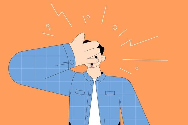 手で顔と目を覆う衝撃を感じる若い驚きの男の漫画のキャラクター