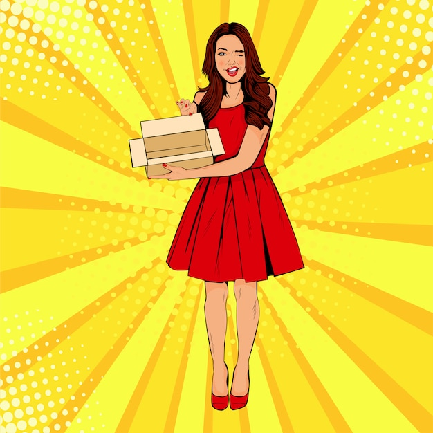 Young surprised pop art woman holding empty box