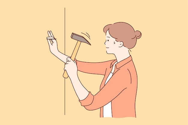 Young sweaty strong confident strong woman cartoon character hammering nail into wall at home.