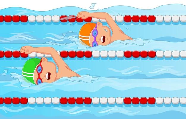 수영장에서 젊은 수영