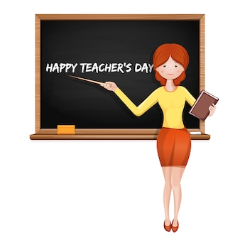 Young teacher at the blackboard with the inscription - happy teacher's day. illustration