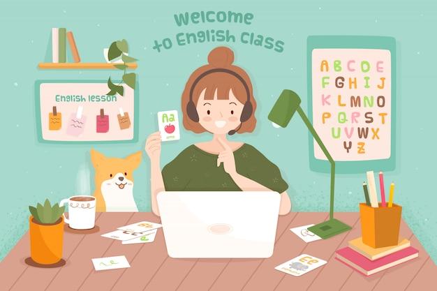 Young teacher female teaching online for little kid