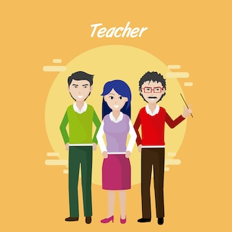Young teachers teamwork cartoons concept