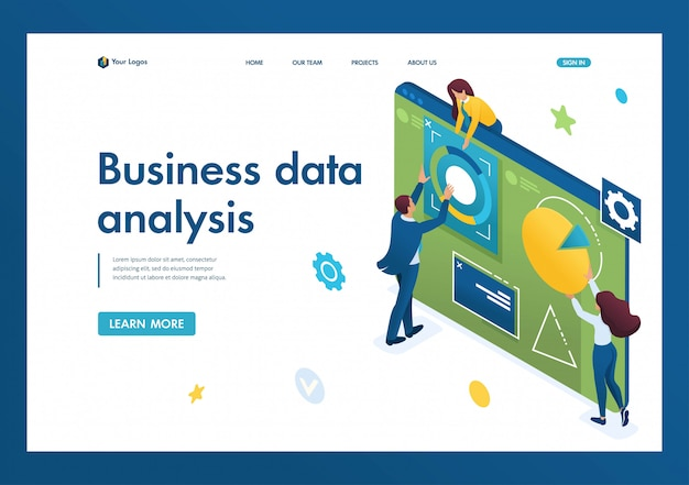 Young team of entrepreneurs engaged in business analysis on a large tablet. data analysis concept. 3d isometric. landing page concepts and web design
