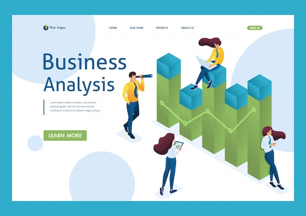 Young team of entrepreneurs engaged in business analytics. data analysis concept. 3d isometric. landing page concepts and web design
