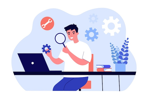 Young technician examining settings flat vector illustration. man analyzing gears while sitting in front of computer with magnifying glass. software, repair, study, programming concept for design