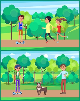 Young teen, people jogging in park set illustration