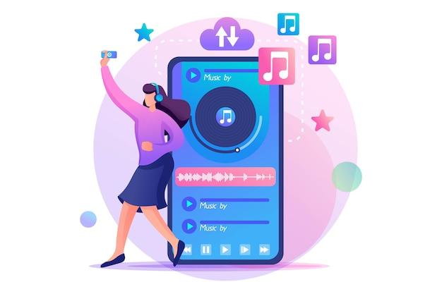 어린 십대 소녀가 좋아하는 음악을 듣고 음악을 즐깁니다.