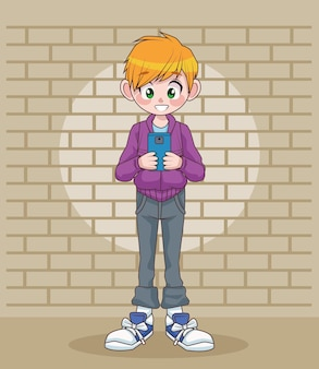 Young teenager boy kid using smartphone in wall character  illustration