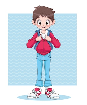 Young teenager boy kid with school bag character  illustration