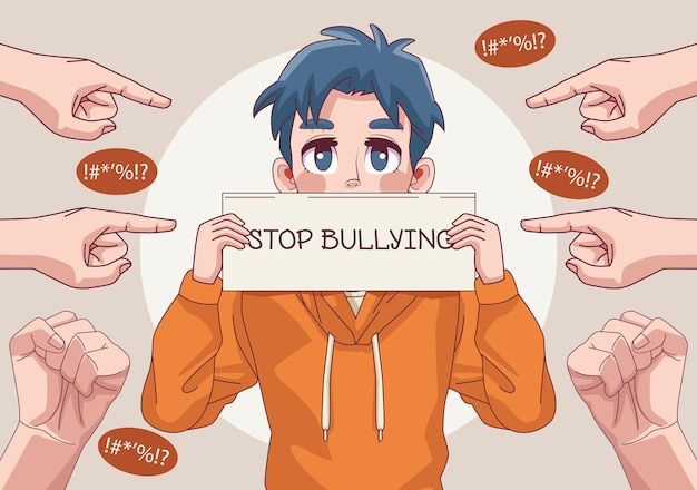Young teenager boy with stop bullying lettering in banner and hands indexing  illustration