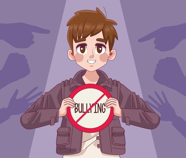 いじめ停止レタリング信号と手インデックスイラストを持つ若い10代の少年