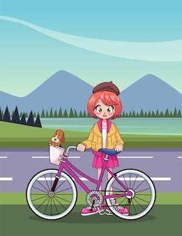 Young teenager girl in bicycle anime character in the road  illustration