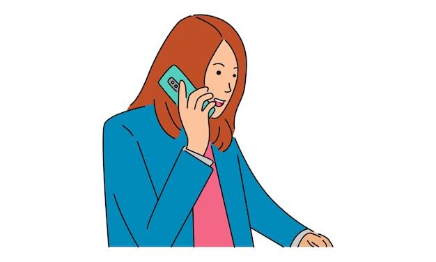 그녀의 전화에 행복 이야기 젊은 십 대 소녀