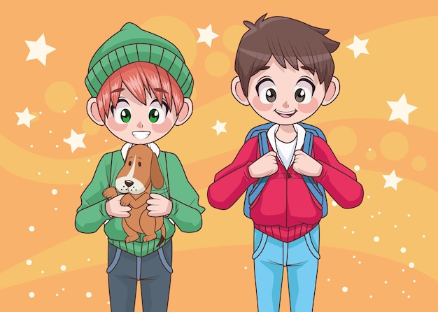 Young teenagers couple boys kids characters  illustration