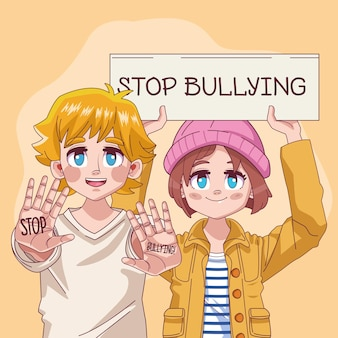 Young teenagers couple with stop bullying lettering in banner  illustration