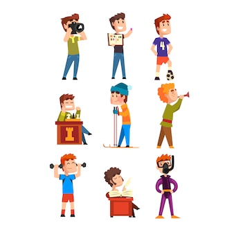 Young teenagers hobby set. cartoon kids characters. collecting stamps, football, chess, photography, sports, diving, playing trumpet, poetry. flat