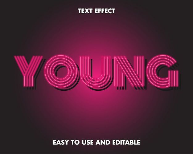 Young text effect. easy to use and editable. premium