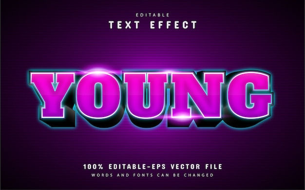 Young text effect with purple gradient