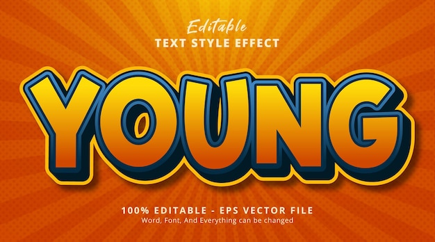 Young text on fancy comic color style, editable text effect
