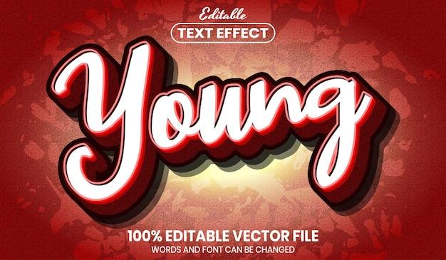 Молодой текст, редактируемый текстовый эффект в стиле шрифта