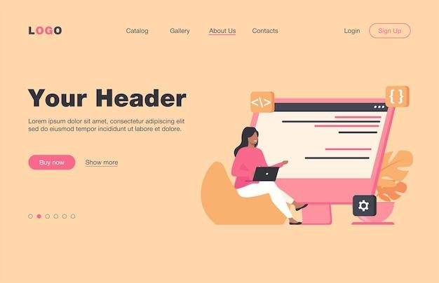 座ってラップトップを介してコーディングする若い小さな女の子。コンピューター、プログラマー、コードフラットイラスト。 itおよびデジタルテクノロジーのコンセプトのウェブサイトのデザインまたはランディングウェブページ