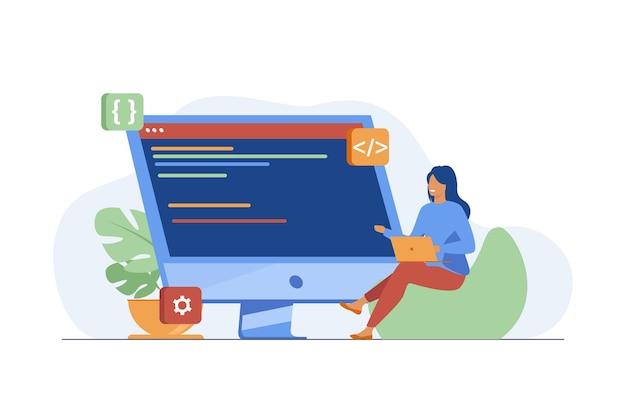 Giovane ragazza minuscola seduta e codifica tramite laptop. computer, programmatore, codice piatto illustrazione vettoriale. it e tecnologia digitale
