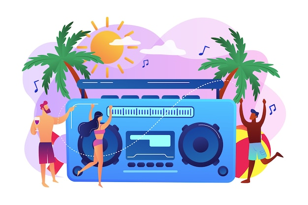 파티에서 수영복과 반바지에 해변에서 춤을 추는 젊은 작은 사람들. 해변 파티, 모래 댄스 플로어, 해변 파티 초대 개념.