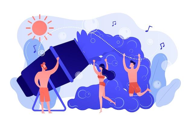 Молодые крошечные люди любят танцевать в пузырьках, которые летом выливаются из пеногенератора. пена вечеринка, мероприятие пены машины, танцы в концепции пузырей. розовый коралловый синий вектор изолированных иллюстрация