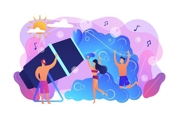 若い小さな人々は、夏にフォームマシンから分配された泡の中で踊ることを楽しんでいます。泡パーティー、泡マシンイベント、泡のコンセプトで踊る。