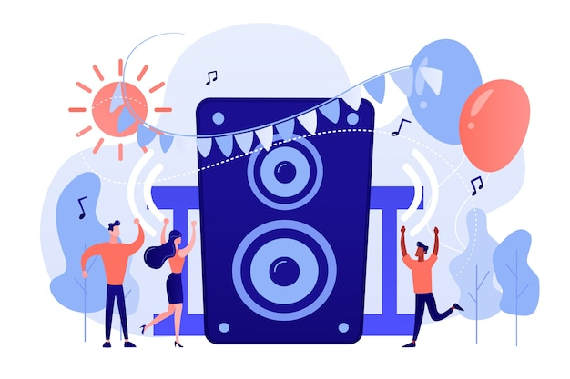 Giovani minuscoli che ascoltano musica e ballano nel parco della città alla festa estiva. festa all'aperto, evento all'aperto, concetto di evento di ballo all'aperto. pinkish coral bluevector illustrazione isolata