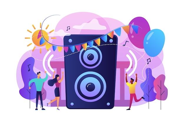 Молодые крошечные люди слушают музыку и танцуют в городском парке на летней вечеринке. вечеринка на открытом воздухе, мероприятие на открытом воздухе, концепция танцевального мероприятия на открытом воздухе.